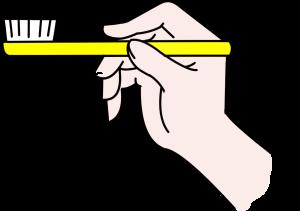 ①歯ブラシは鉛筆を持つように